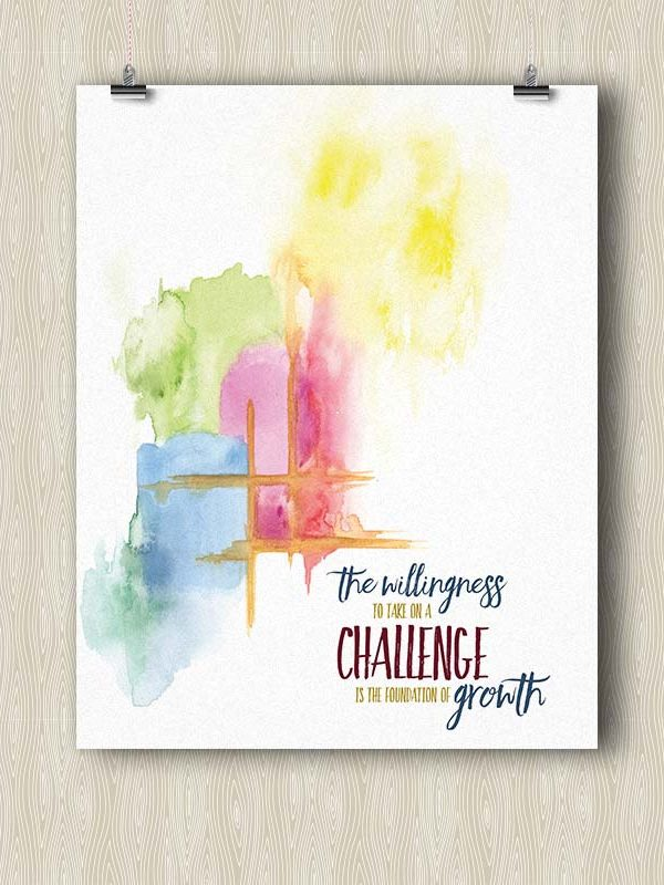 The Willingness to take on a Challenge is the foundation of Growth - Yoga poster by Hand-Painted Yoga