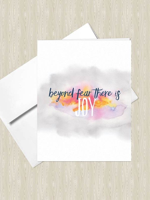 Beyond Fear there is Joy - Yoga greeting cards by Hand-Painted Yoga