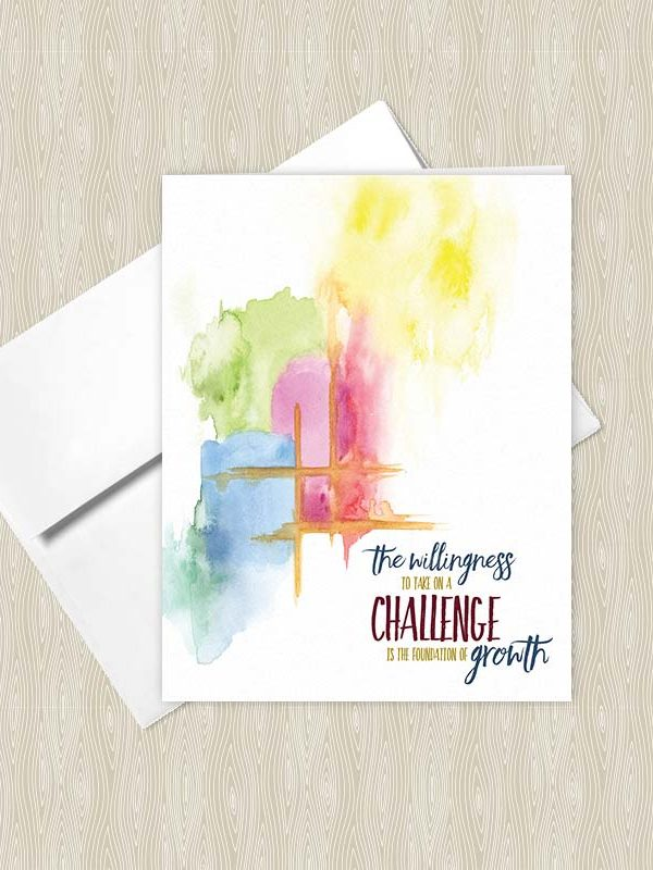 The Willingness to take on a Challenge is the foundation of Growth - Yoga greeting cards by Hand-Painted Yoga
