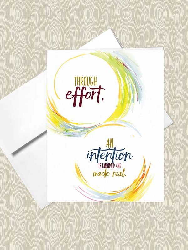 Through effort, an Intention is embodied and made Real - Yoga greeting cards by Hand-Painted Yoga