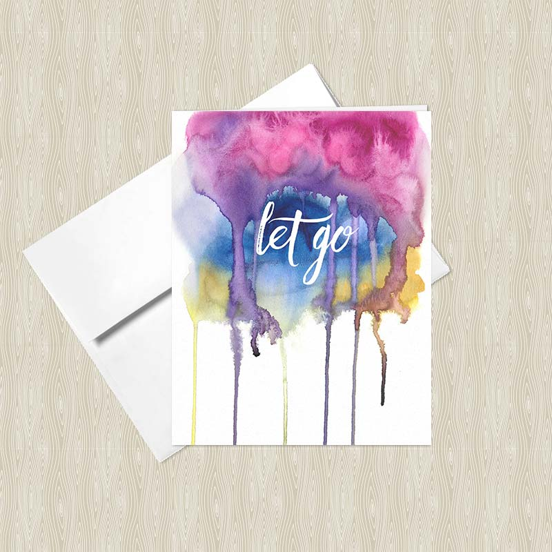 Let go greeting card set set of 4 hand painted yoga let go greeting card m4hsunfo