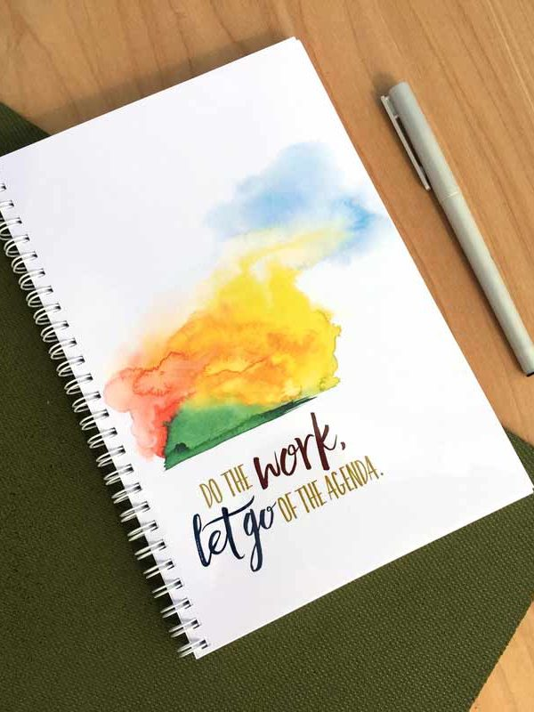 Do the Work, Let Go of the Agenda Spiral Bound Journal by Hand-Painted Yoga