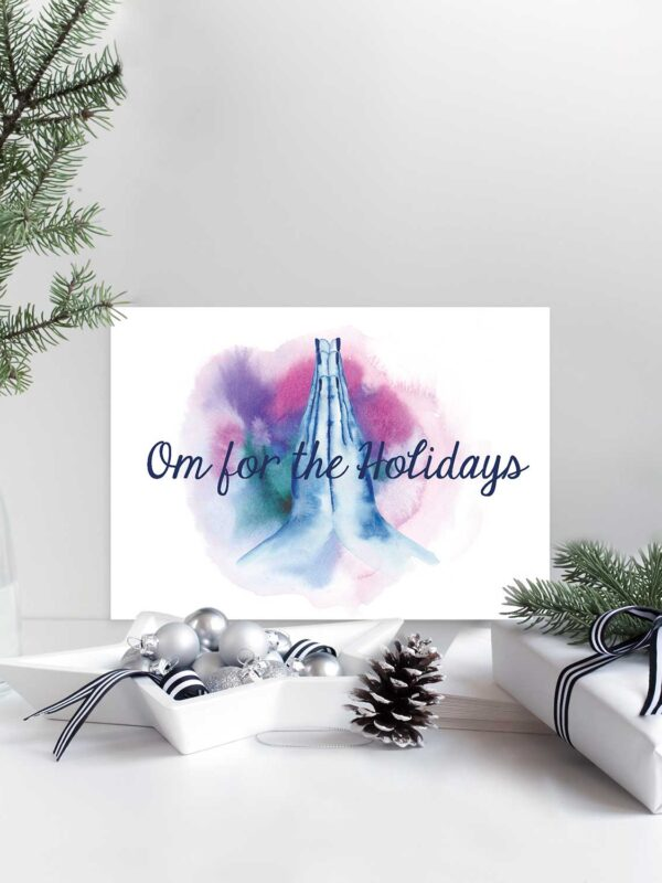 Om for the Holidays watercolor holiday card by Hand-Painted Yoga