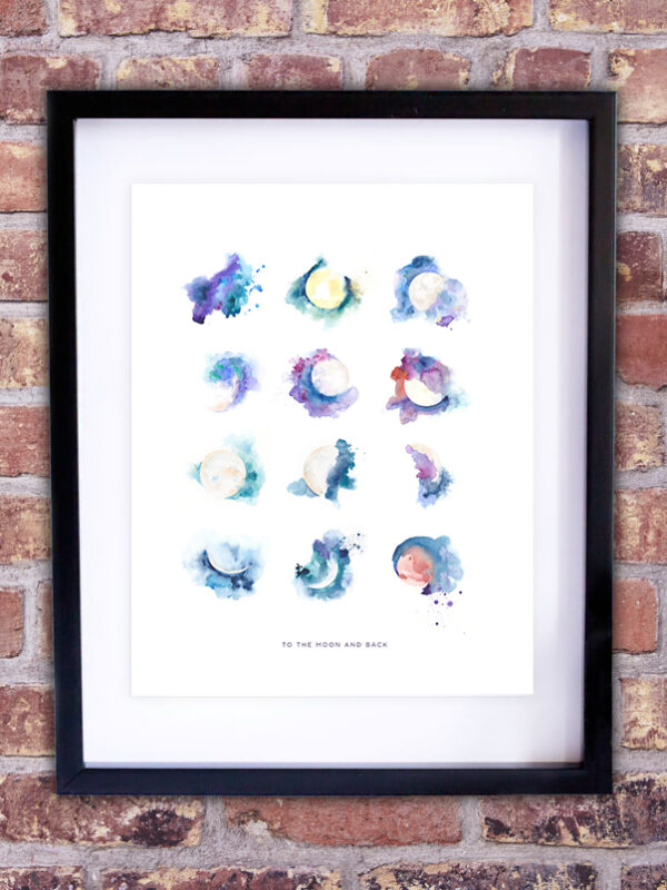 moon watercolor art print