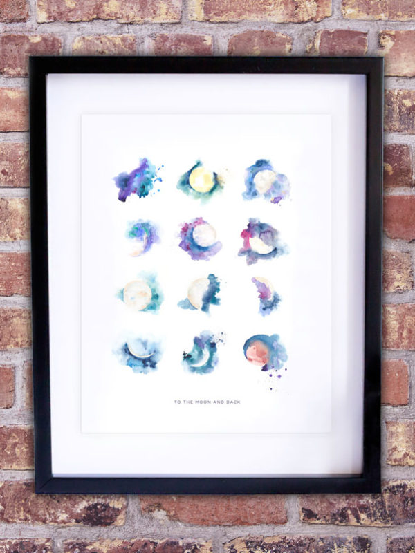 Moon Phase Watercolor Collection