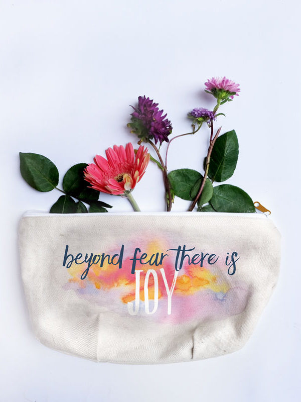 Beyond Fear accessory pouch by Hand-Painted Yoga