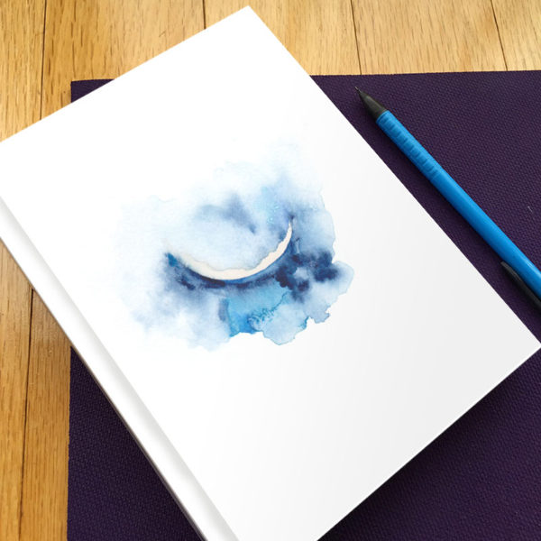 Crescent Moon Hardbound Gratitude Journal by Hand-Painted Yoga