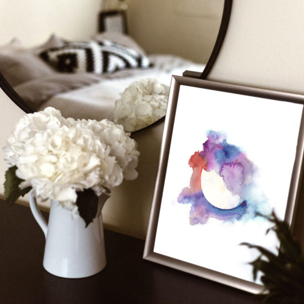 Harvest Moon watercolor art print by Hand-Painted Yoga