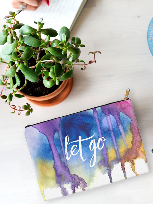 Let Go accessory pouch by Hand-Painted Yoga