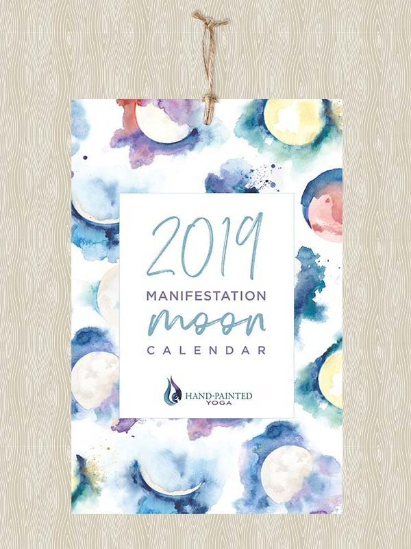 Moon Phase watercolor 2019 calendar by Hand-Painted Yoga