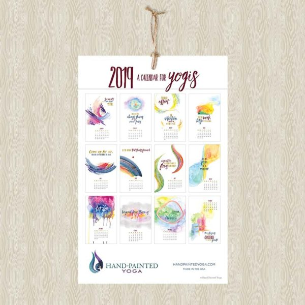 2019 Calendar for Yogis Wall Calendar by Hand-Painted Yoga