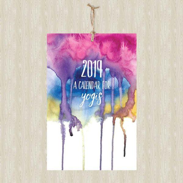 2019 Calendar for Yogis Wall Calendar by Hand-Painted Yoga