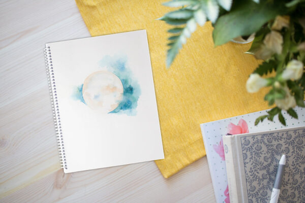 Sacred Moon gratitude spiral notebook by Hand-Painted Yoga